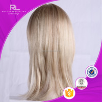 Qingdao factory price top quality grey human hair wigs lace front wig for white women