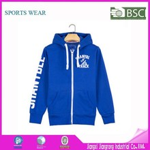 New Style Gym Hoodie Custom Zip Navi Blue Sport Hoodie For Running / Basketball