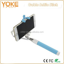 factory supply Cable Take Pole Foldable Wired Selfie Stick Mono pod with Mirror TS208