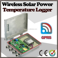 silvery Wireless Temperature Humidity Data Logger with Solar Power panel
