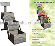 wooden planter with compost & seed