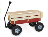 Wood Wagon ALL Terrain Pulling Red Wood Railing Children Kid Garden Cart