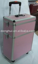 Pink stripe ABS surface Aluminum luggage