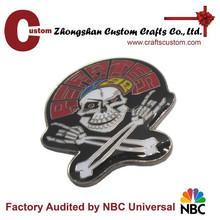 Metal skull metal pin enamel badge with epoxy