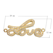 29*13mm platinum gold and rose gold plated love shape zircon gemstone