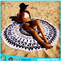 Heavy weight good quality printed pattern Turkish round beach towel with tassels