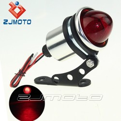 ZJMOTO CNC Aluminum LED Motorcycle Taillight Brake Light Tail Lamp Universal Mount For Chopper Bobber Sportster