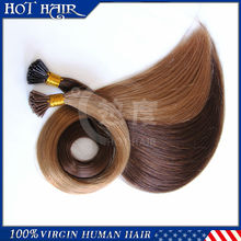 7A high quality double drawn Keratin glue virgin i tip hair,100% real human hair Pre bonded hair extension