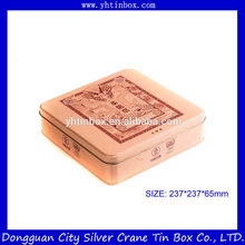 Squqre forme métal thé étain boîte / décoratif thé étain / thé étain boîte