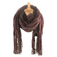 winter hand crochet shawl with jacquard scarf knitting