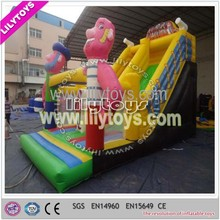 Lovely cartoon character children inflatable slide made in professional factory