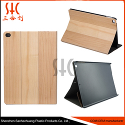 Flip wood pu leather book stand wallet cases/Natural bamboo wooden tablet cases for cover ipads