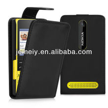 High quality leather case flip case cover for Nokia asha 210