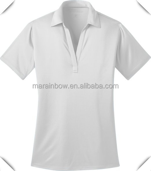 Plain white 100 polyester double knit dry fit women 39 s for Women s dri fit polo shirts wholesale