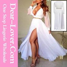 venta al por mayor más el tamaño de mujer madura ruffling de manga larga de lujo maxi vestido