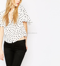 Polka dot print short ruffle sleeve double pocket shirt sexy