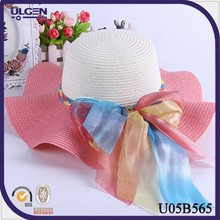Spring mexican straw hats manufacturers wholesale new bow straw hat summer sun beach straw hat