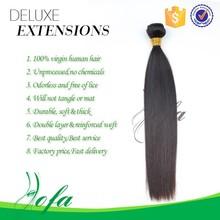 Wholesale flat iron straighten unprocessed brazilian high end hair extensions