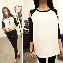 Nueva moda de la mujer coreana la parte superior del hombro manga 1/2 t- shirt ropa de sport 12209
