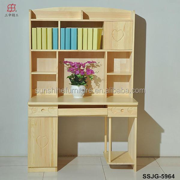 En bois moderne biblioth que tag re biblioth que avec for Meuble bureau avec etagere