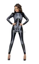 Skeleton Fancy Dress Halloween Party Women adult tight Costume(HC-1178)