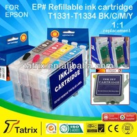 Refillable Ink Cartridge for Epson T1331-T1334 with CE, SGS, STMC, ISO certificates