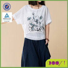 Summer casual linen loose printed Tee design 2015 t-shirt fashion women