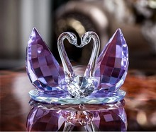 high quality 3d crystal glass swan