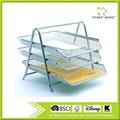 3- tier stahl mesh schreibtisch fach, silber