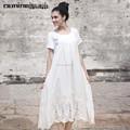 Lunkuo Design élégant courtes manches longues robe en dentelle blanc