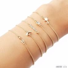 Fashion Wholesale Elephant Crystal Crescent Star Gold Chain Wrist Bracelet Sets