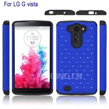 PC +silicone Bling Bling crystal star hybrid combo back cover for LG G vista phone case, case for LG G vista