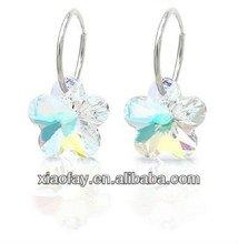Newest Sterling Silver Heart Shaped Clear Crystal Drop Earrings