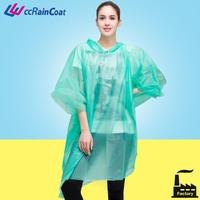 Reusable PEVA waterproof rain poncho with sleeves
