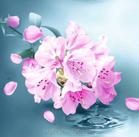 pink flower and water design textile materials peach skin fabric