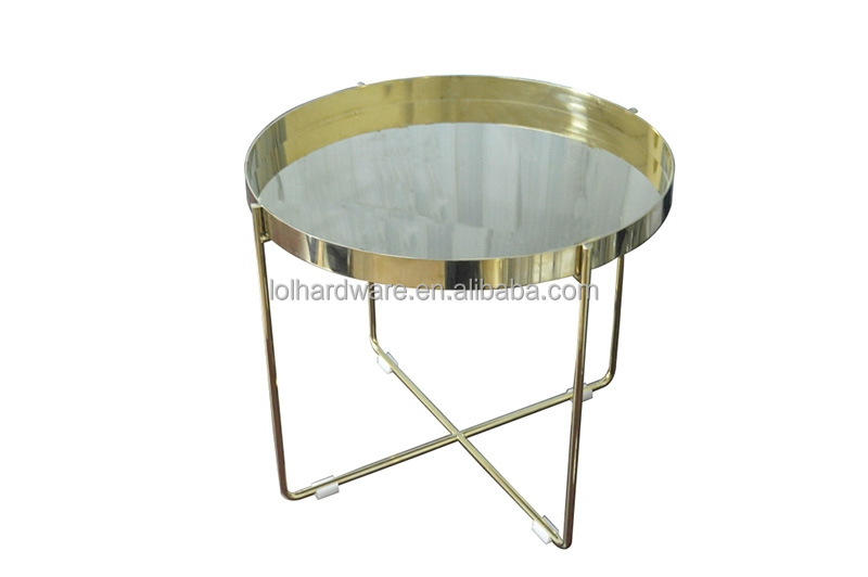Golden Stainless Steel Round Coffee Table