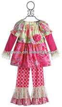 2014New Style!Baby Girls Cotton Clothing Sets Cheap Baby Damask Outfits For Kids Newborn Baby Girls Ruffle Pants Set With Floral