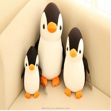 Promotional custom stuffed plush toy cartoon character figure logo , polyester Penguin design realistic printed