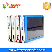 Customizd portable 10000mah solar mobile phone charger blue/red/silver/black colors