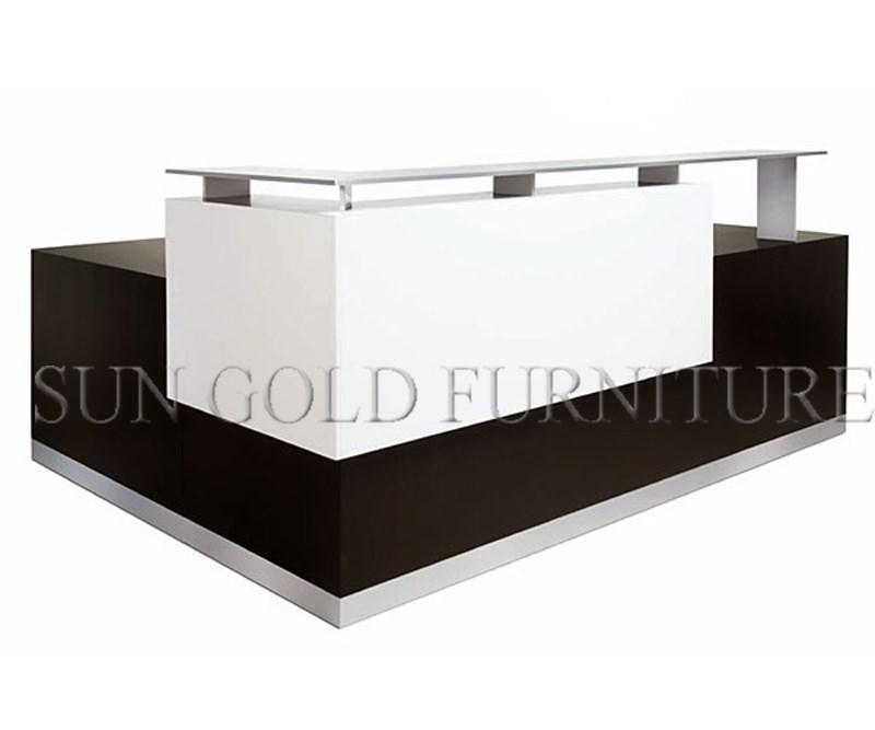Shape Glass Top Wooden Office Reception Desk(sz-rt035) - Buy Office