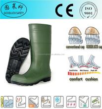 Corrosion Resistant Dark Green S5 CE EN PVC Work Boots/Shoes