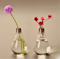 Eco-firendly all size light bulb glass bottle with tin screw cap drinking straw cover wholesale