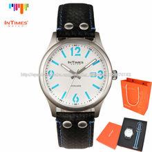 Intimes set de regalo azulit-1066lgs los hombres reloj de aceroinoxidable banda de cuero genuino con extra de la banda de nylon