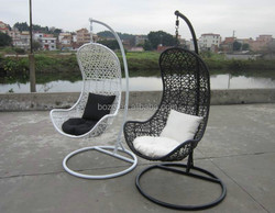 moon shape rattan hanging chair, plastic rattan wing