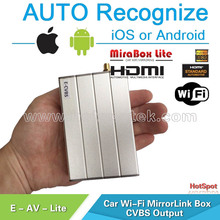 MirrorLink Smart Phone Screen Mirroring to any Car Head Unit with AV car wifi mircast display box