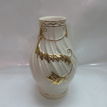 EF333 Chinese Gold hand painted Fashion luxury modern ceramic plated vase