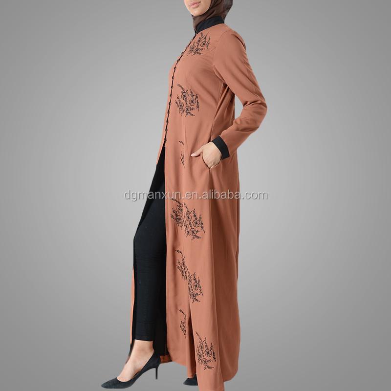 Latest embroidered muslim front open abaya islamic clothing for women turkish cardigan (5).jpg