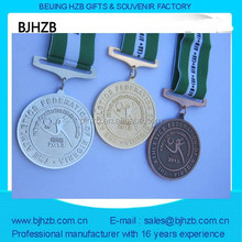 professional custom 3D metal medal have various shape and color with ribbon