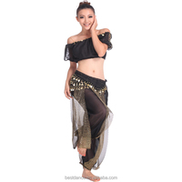 Free Shipping Belly Dance Costume Set Beads Bells Top+Shinny Sequin Balloon Bloomers trouser