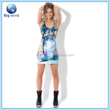 Hot Selling Fashion Design Sublimation Printed Sexy Young Girl/Lady Party Dresses